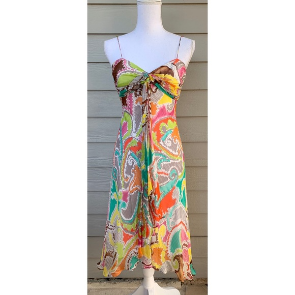 Milly Dresses & Skirts - MILLY New York Silk Spaghetti Strap Colorful Dress
